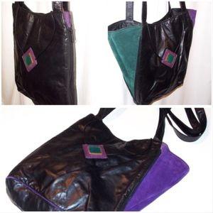 Vintage 80s Statement leather Shoulder Bag Purse